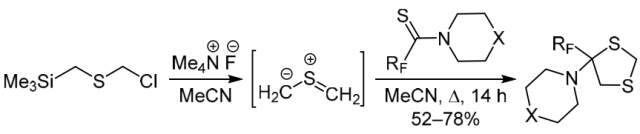 Synthesis of 4-polyfluoroalkyl-1,3-dithiolanes via [3+2] cycloaddition of thiocarbonyl ylide to polyfluoroalkanethioamides