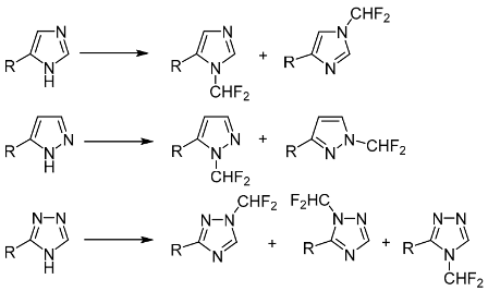 N-Difluoromethylation of monosubstituted polydentate azoles