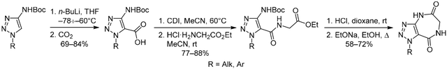 4-(Boc-amino)-1Н-1,2,3-triazole-5-carboxylic acids –convenient reagents for the synthesis of 1,4,6,7-tetrahydro[1,2,3]- triazolo[4,5-е][1,4]diazepine-5,8-diones