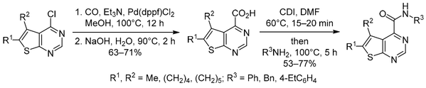 Efficient method for the synthesis of novel substituted thieno[2,3-d]pyrimidine-4-carboxylic acids, their derivatization, and antimicrobial activity