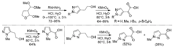 Synthesis and oxidation of all isomeric 2-(pyrazolyl)ethanols