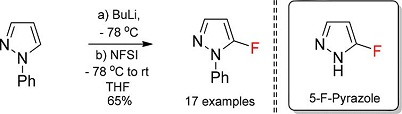 Preparation of 5-Fluoropyrazoles from Pyrazoles and N-Fluorobenzenesulfonimide (NFSI)