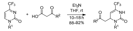 The addition of β-ketoacids to 4-(trifluoromethyl)pyrimidin- 2(1Н)-ones with decarboxylation: an effective method for the synthesis of 4-(2-oxoalkyl)-6-(trifluoromethyl)-3,4-dihydropyrimidin-2-ones