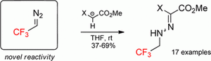 Unexpected Reactivity of Trifluoromethyl Diazomethane (CF3CHN2): Electrophilicity of the Terminal N-Atom