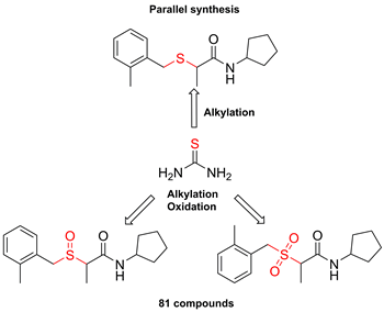 One-Pot Parallel Synthesis of Alkyl Sulfides, Sulfoxides, and Sulfones