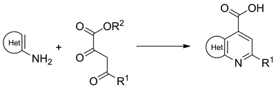 Approach to the Library of Fused Pyridine-4-carboxylic Acids by Combes-Type Reaction of Acyl Pyruvates and Electron-Rich Amino Heterocycles