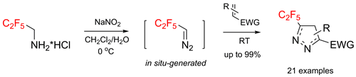 Generation of C2F5CHN2 In Situ and Its First Reaction: [3+2] Cycloaddition with Alkenes