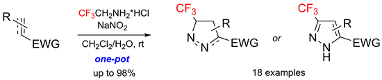 One-Pot Synthesis of CF3-Substituted Pyrazolines/Pyrazoles from Electron-Deficient Alkenes/Alkynes and CF3CHN2 Generated in situ: Optimized Synthesis of Tris(trifluoromethyl)pyrazole