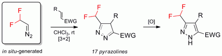 Synthesis of CF2H-pyrazolines by [3+2]-cycloaddition between CF2HCHN2 and electron-deficient alkenes