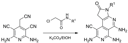 Synthesis of pyrrolo[2,3-c]2,7-naphthyridine derivatives by cascade heterocyclization reaction of 2-amino-4-cyanomethyl-6-dialkylamino-3,5-pyridinedicarbonitriles