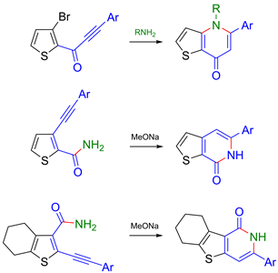 Efficient synthesis of novel thieno[3,2-b]-, [2,3-c]- and [3,2-c]pyridones by Sonogashira coupling of bromothiophenes with terminal alkynes and subsequent intramolecular C–N bond-forming reaction