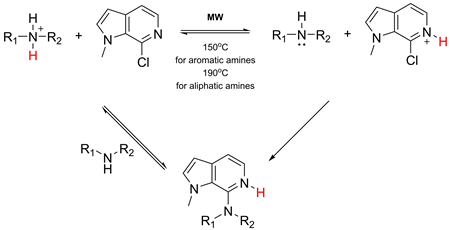 Microwave-assisted acid-catalyzed nucleophilic heteroaromatic substitution: the synthesis of 7-amino-6-azaindoles