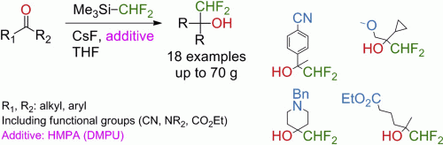 Direct Nucleophilic Difluoromethylation of Enolizable Ketones with CHF2TMS/HMPA