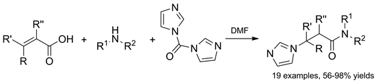 One-pot synthesis of β-imidazolylpropionamides