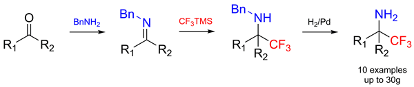 An easy synthesis of α-trifluoromethyl-amines from aldehydes or ketones using the Ruppert-Prakash reagent