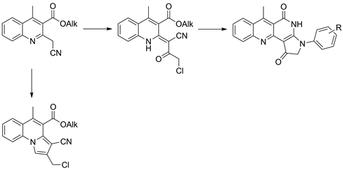 Synthesis of heterocyclic derivatives of alkyl 2-(cyanomethyl)-4-methyl-3-quinolinecarboxylates