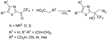 Decarboxylative Aldol-Type Reaction of 2-(Trifluoroacetyl)-1,3-diazoles with Activated Acetic Acids