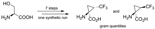 Simple and Efficient Procedure for a Multigram Synthesis of Both trans- and cis-1-Amino-2-(trifluoromethyl)cyclopropane-1-carboxylic Acid