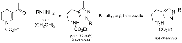 Regioselective Reaction of Ethyl 5-Acetyl-3,4-dihydropyridine-1(2H)-carboxylate with Hydrazines: A Facile Approach to New Pyrazole Derivatives