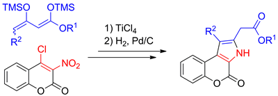 Synthesis of Chromeno[3,4-b]pyrrol-4(3H)-ones by Cyclocondensation of 1,3-Bis(trimethylsilyloxy)buta-1,3-dienes with 4-Chloro-3-nitrocoumarin