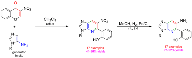 An Efficient Synthesis of 6-Nitro- and 6-Amino-3H-imidazo[4,5-b]pyridines by Cyclocondensation of 1-Substituted 1H-Imidazol-5-amines with 3-Nitro-4H-chromen-4-one