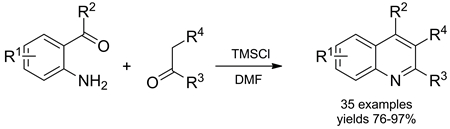 Chlorotrimethylsilane-Mediated Friedländer Synthesis of Polysubstituted Quinolines