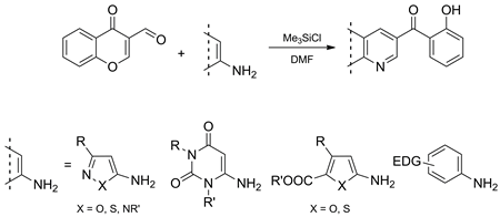 Chlorotrimethylsilane-Mediated Synthesis of Functionalized Fused Pyridines: Reaction of 3-Formylchromones with Electron-Rich Aminoheterocycles