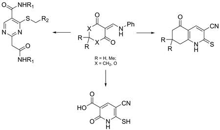 Unexpected result in the reaction of 3-amino-3-thioxopropanamides with 2-anilinomethylene derivatives of 1,3-dicarbonyl compounds. synthesis of pyrimidine-5-carboxamide derivatives