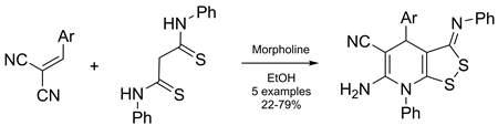 Synthesis of [1,2]dithiolo[3,4-b]pyridines via the reaction of dithiomalondianilide with arylmethylidenemalononitriles