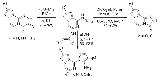 Synthesis, annulation, and heterofunctionalization of 4-hydrazinylpyrazolo[1,5-а]pyrazines