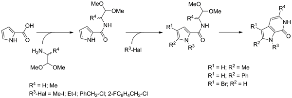 The synthesis of low molecular weight pyrrolo[2,3-c]pyridine-7-one scaffold